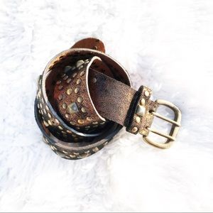 Betsey Johnson Shimmer Studded Leather Belt